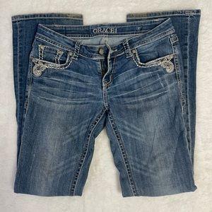 Grace In LA Denim Jeans Jeweled Boot Cut